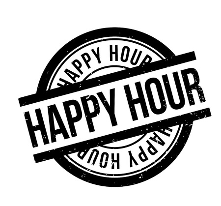 Happy Hour rubber stamp Vectores