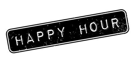 Happy Hour sello de goma Ilustración de vector