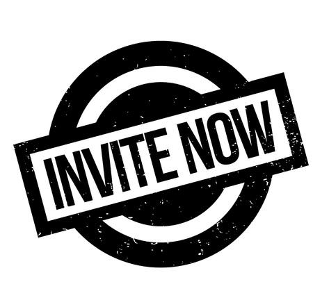 Invite Now rubber stamp Stock Photo