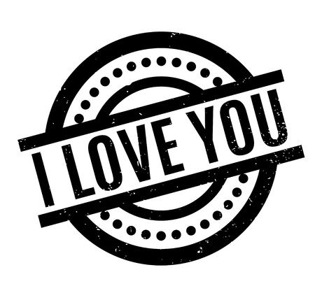 I Love You rubber stamp illustration.
