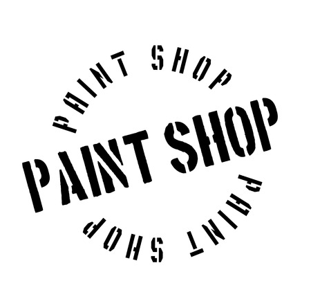 Paint Shop rubber stamp. Grunge design with dust scratches. Effects can be easily removed for a clean, crisp look. Color is easily changed.
