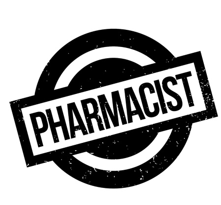 Pharmacist rubber stamp. Grunge design with dust scratches. Effects can be easily removed for a clean, crisp look. Color is easily changed.