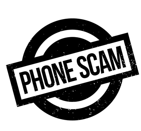extortion: Phone Scam rubber stamp. Grunge design with dust scratches. Effects can be easily removed for a clean, crisp look. Color is easily changed. Illustration