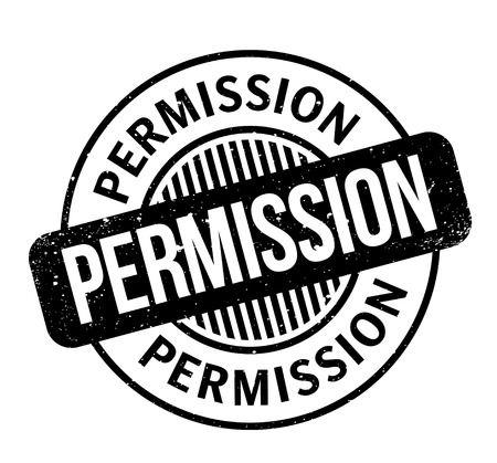 Permission rubber stamp. Grunge design with dust scratches. Effects can be easily removed for a clean, crisp look. Color is easily changed.