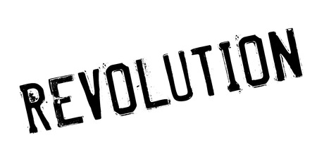improving: Revolution rubber stamp. Grunge design with dust scratches. Effects can be easily removed for a clean, crisp look. Color is easily changed. Illustration