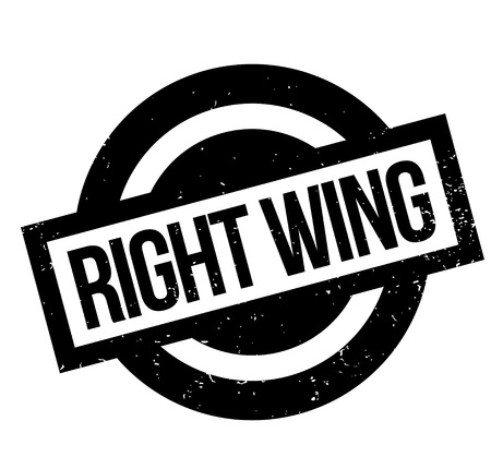 conservative: Right Wing rubber stamp. Grunge design with dust scratches. Effects can be easily removed for a clean, crisp look. Color is easily changed. Illustration