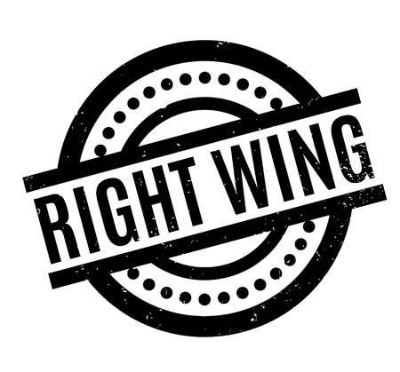 Right Wing rubber stamp. Grunge design with dust scratches. Effects can be easily removed for a clean, crisp look. Color is easily changed. Illustration