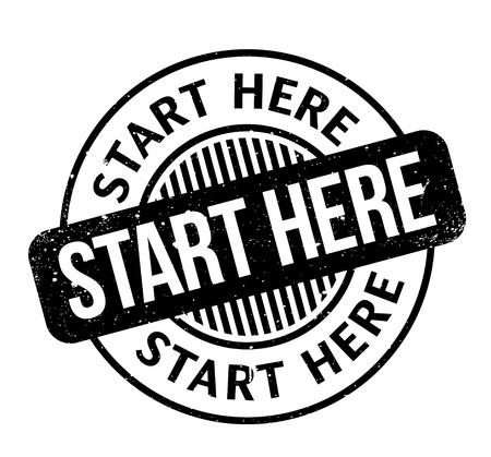 Start Here rubber stamp Ilustração