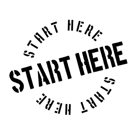 Start Here rubber stamp