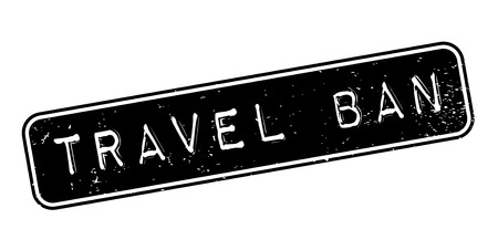 bounds: Travel Ban rubber stamp. Grunge design with dust scratches. Effects can be easily removed for a clean, crisp look. Color is easily changed.