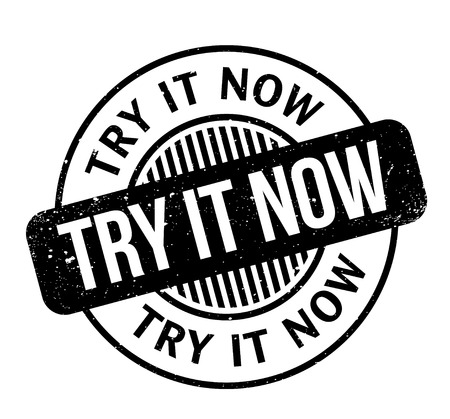 Try It Now rubber stamp. Grunge design with dust scratches. Effects can be easily removed for a clean, crisp look. Color is easily changed. Illustration