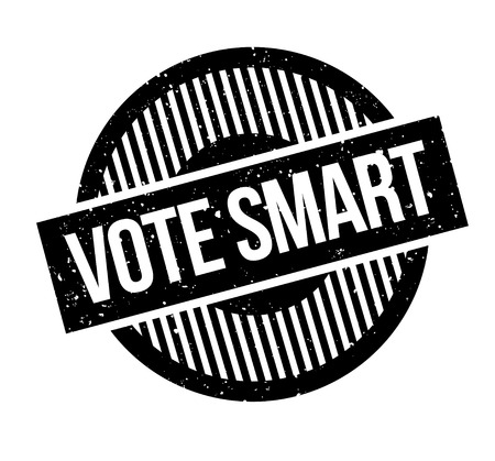 Vote Smart rubber stamp. Grunge design with dust scratches. Effects can be easily removed for a clean, crisp look. Color is easily changed. Illustration