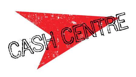 Cash Center rubberstempel. Grungeontwerp met stofkrassen. Effecten kunnen eenvoudig worden verwijderd voor een schone, heldere look. Kleur is gemakkelijk te veranderen.