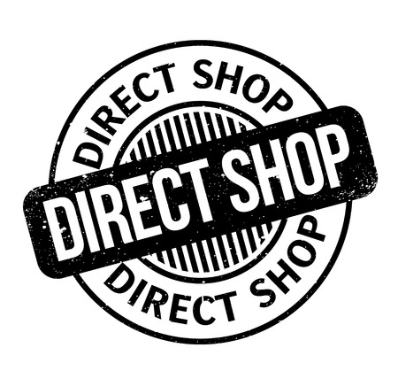 Direct Shop rubber stamp. Grunge design with dust scratches. Effects can be easily removed for a clean, crisp look. Color is easily changed. Illustration