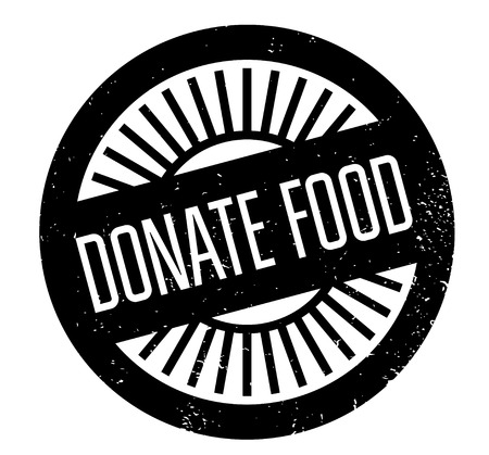 Donate Food rubber stamp in grunge design with dust scratches. Illustration