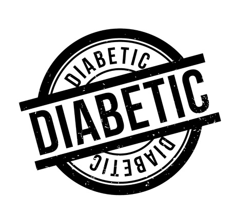 type 1 diabetes: Diabetic rubber stamp. Grunge design with dust scratches. Effects can be easily removed for a clean, crisp look. Color is easily changed. Illustration