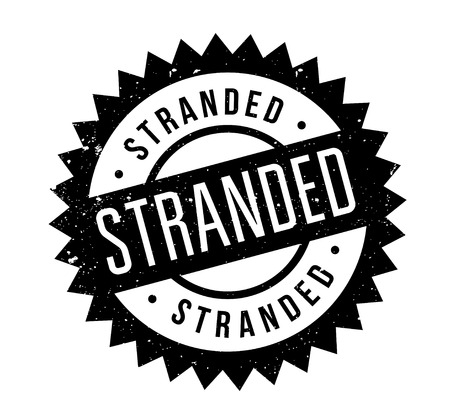 Stranded rubber stamp. Grunge design with dust scratches. Effects can be easily removed for a clean, crisp look. Color is easily changed.