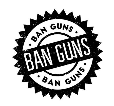 Ban Guns rubberstempel. Grungeontwerp met stofkrassen. Effecten kunnen eenvoudig worden verwijderd voor een schone, heldere look. Kleur kan gemakkelijk worden veranderd.