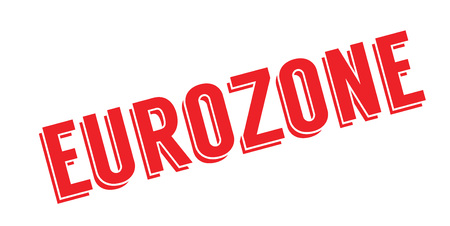 EUROZONE rubber stamp design in red color illustration, isolated on white