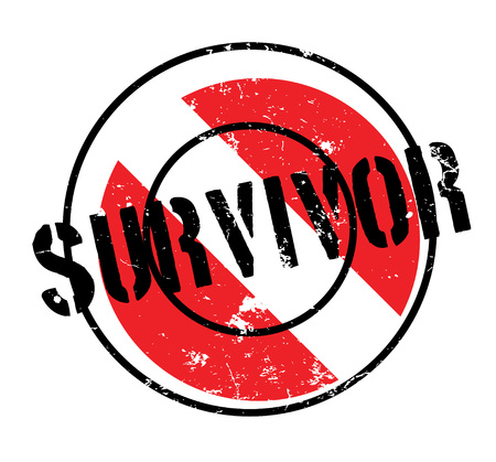 Survivor sign on a rubber stamp,  a black text over a black and red grungy circle design