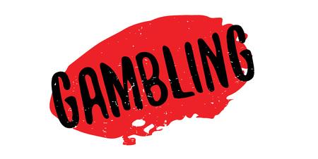 Gambling text in black over a red splatter for rubber stamp design Illustration