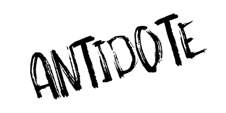 Antidote text in a grungy texture, isolated on white, design for rubber stamp