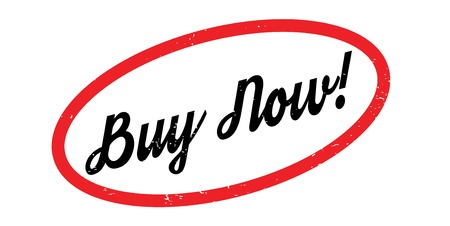 Buy Now text in calligraphic illustration inside a red outline oblong shape, for rubber stamp design Illustration