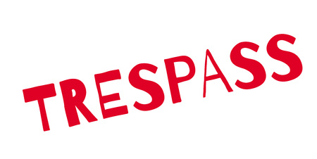 Trespass red text, isolated on white, for rubber stamp design illustration