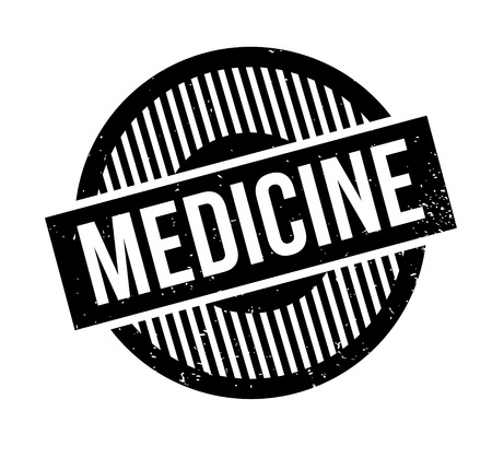 Medicine rubber stamp. Grunge design with dust scratches. Effects can be easily removed for a clean, crisp look. Color is easily changed. Illustration
