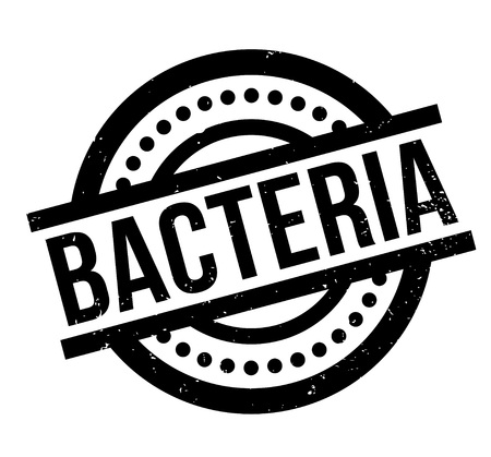 Bacteria rubber stamp. Grunge design with dust scratches. Effects can be easily removed for a clean, crisp look. Color is easily changed.