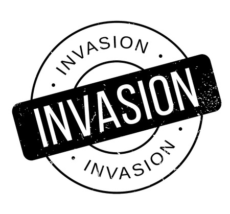 incursion: Invasion rubber stamp. Grunge design with dust scratches. Effects can be easily removed for a clean, crisp look. Color is easily changed.