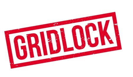 Gridlock rubber stamp. Grunge design with dust scratches. Effects can be easily removed for a clean, crisp look. Color is easily changed. Stock Photo