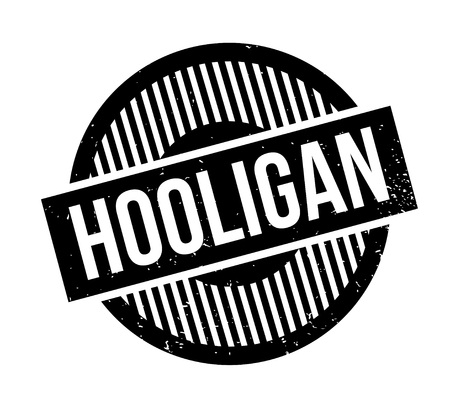 delinquent: Hooligan rubber stamp. Grunge design with dust scratches. Effects can be easily removed for a clean, crisp look. Color is easily changed. Stock Photo