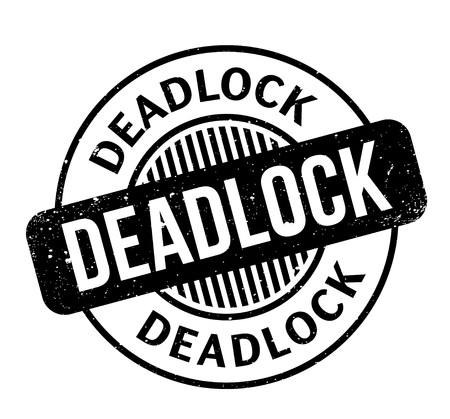 Deadlock rubber stamp. Grunge design with dust scratches. Effects can be easily removed for a clean, crisp look. Color is easily changed.
