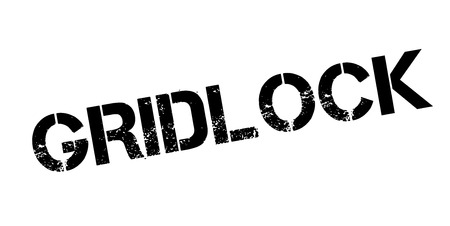 hectic: Gridlock rubber stamp. Grunge design with dust scratches. Effects can be easily removed for a clean, crisp look. Color is easily changed. Stock Photo