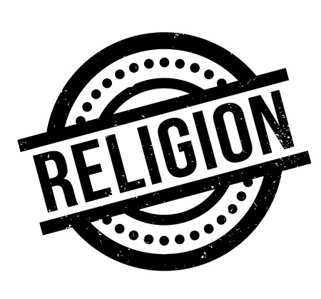 Religion rubber stamp. Grunge design with dust scratches. Effects can be easily removed for a clean, crisp look. Color is easily changed.