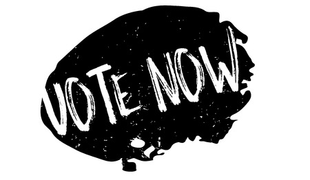 Vote Now rubber stamp. Grunge design with dust scratches. Effects can be easily removed for a clean, crisp look. Color is easily changed. Stock Photo - 84677907
