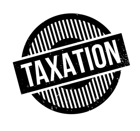 Taxation rubber stamp. Grunge design with dust scratches. Effects can be easily removed for a clean, crisp look. Color is easily changed. Stock Photo