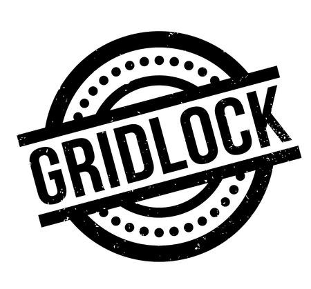 Gridlock rubberen stempel. Grunge ontwerp met stof krassen. Effecten kunnen gemakkelijk worden verwijderd voor een schone, frisse uitstraling. Kleur is gemakkelijk te veranderen.