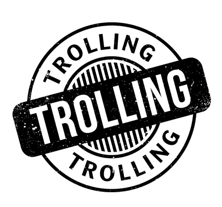 Trolling rubber stamp. Grunge design with dust scratches. Effects can be easily removed for a clean, crisp look. Color is easily changed. Stock Photo