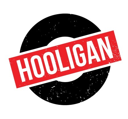 Hooligan rubber stamp. Grunge design with dust scratches. Effects can be easily removed for a clean, crisp look. Color is easily changed. Stock Photo