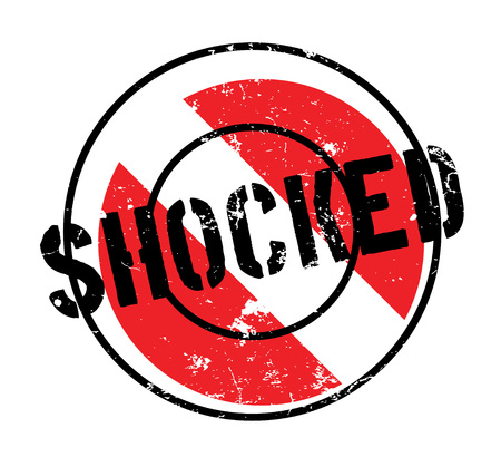 outrage: Shocked rubber stamp. Grunge design with dust scratches. Effects can be easily removed for a clean, crisp look. Color is easily changed.