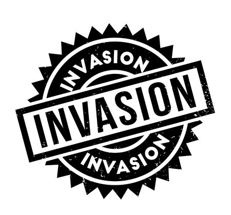 invade: Invasion rubber stamp. Grunge design with dust scratches. Effects can be easily removed for a clean, crisp look. Color is easily changed.