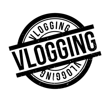 web presence internet presence: Vlogging rubber stamp. Grunge design with dust scratches. Effects can be easily removed for a clean, crisp look. Color is easily changed. Illustration