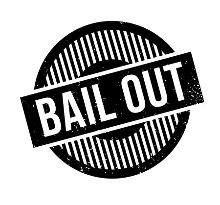Bail Out rubber stamp. Grunge design with dust scratches. Effects can be easily removed for a clean, crisp look. Color is easily changed.