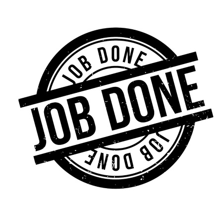 accomplish: Job Done rubber stamp. Grunge design with dust scratches. Effects can be easily removed for a clean, crisp look. Color is easily changed.