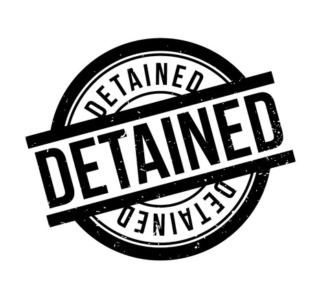 detained: Detained rubber stamp. Grunge design with dust scratches. Effects can be easily removed for a clean, crisp look. Color is easily changed.