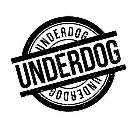 Underdog rubber stamp. Grunge design with dust scratches. Effects can be easily removed for a clean, crisp look. Color is easily changed.