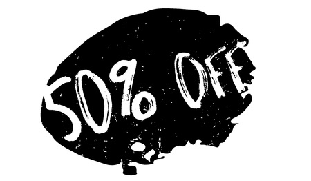 retail therapy: 50 Off rubber stamp. Grunge design with dust scratches. Effects can be easily removed for a clean, crisp look. Color is easily changed.