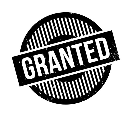 granting: Granted rubber stamp. Grunge design with dust scratches. Effects can be easily removed for a clean, crisp look. Color is easily changed.